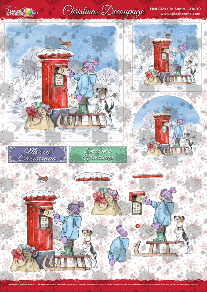 A4 Christmas Decoupage - First Class to Santa